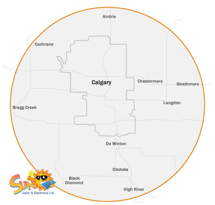 Sun Solar Service Area Map